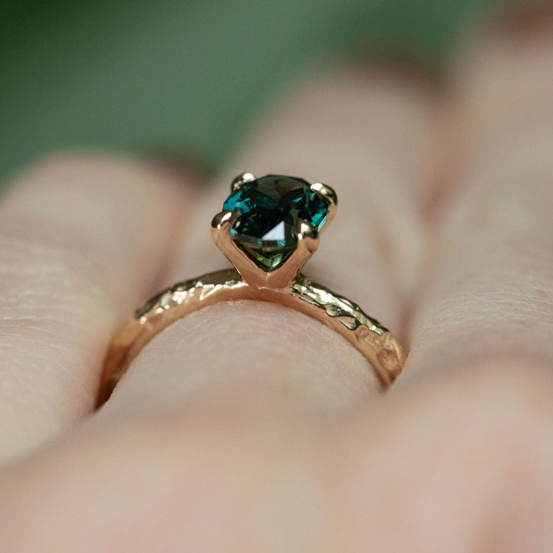 1.50ct Australian Oval Sapphire Evergreen Solitaire Ring in 14k yellow gold