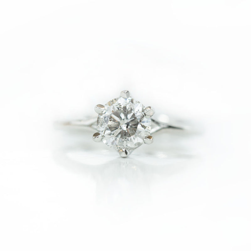 1.54ct Round GIA Grey Diamond Classic Six Prong Setting in Platinum
