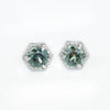 1.08ctw Montana Sapphire Earrings in White Gold Diamond Halo Setting