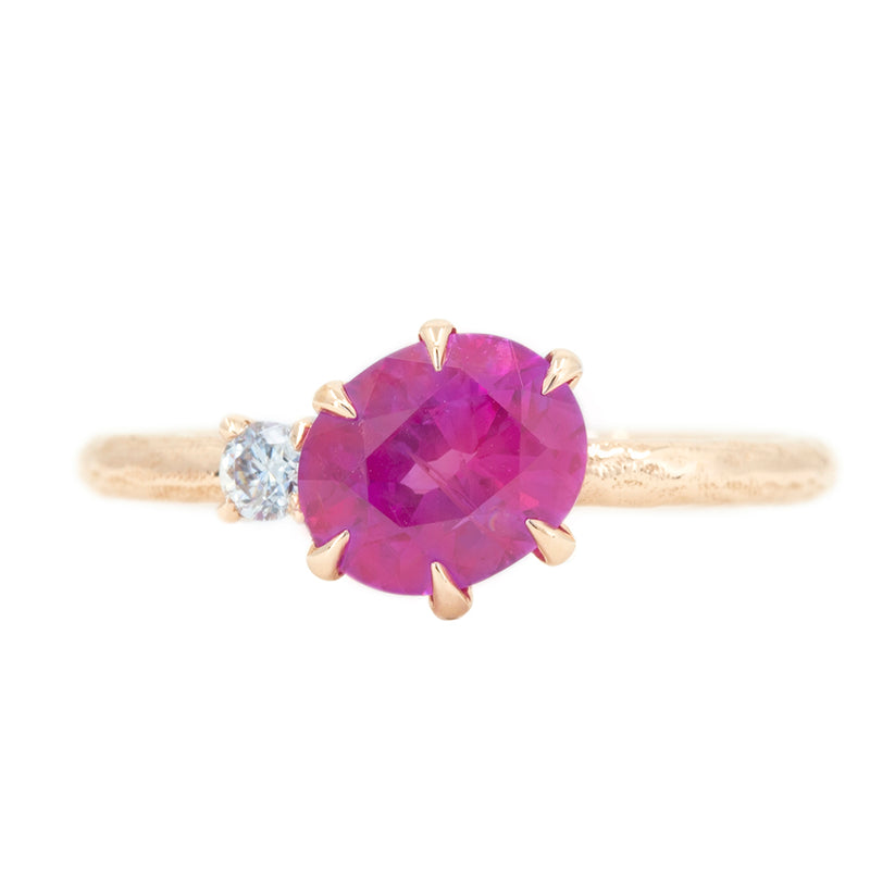 1.61ct Oval Neon Pink Sapphire and Diamond Asymmetrical Ring in 14k Rose Gold