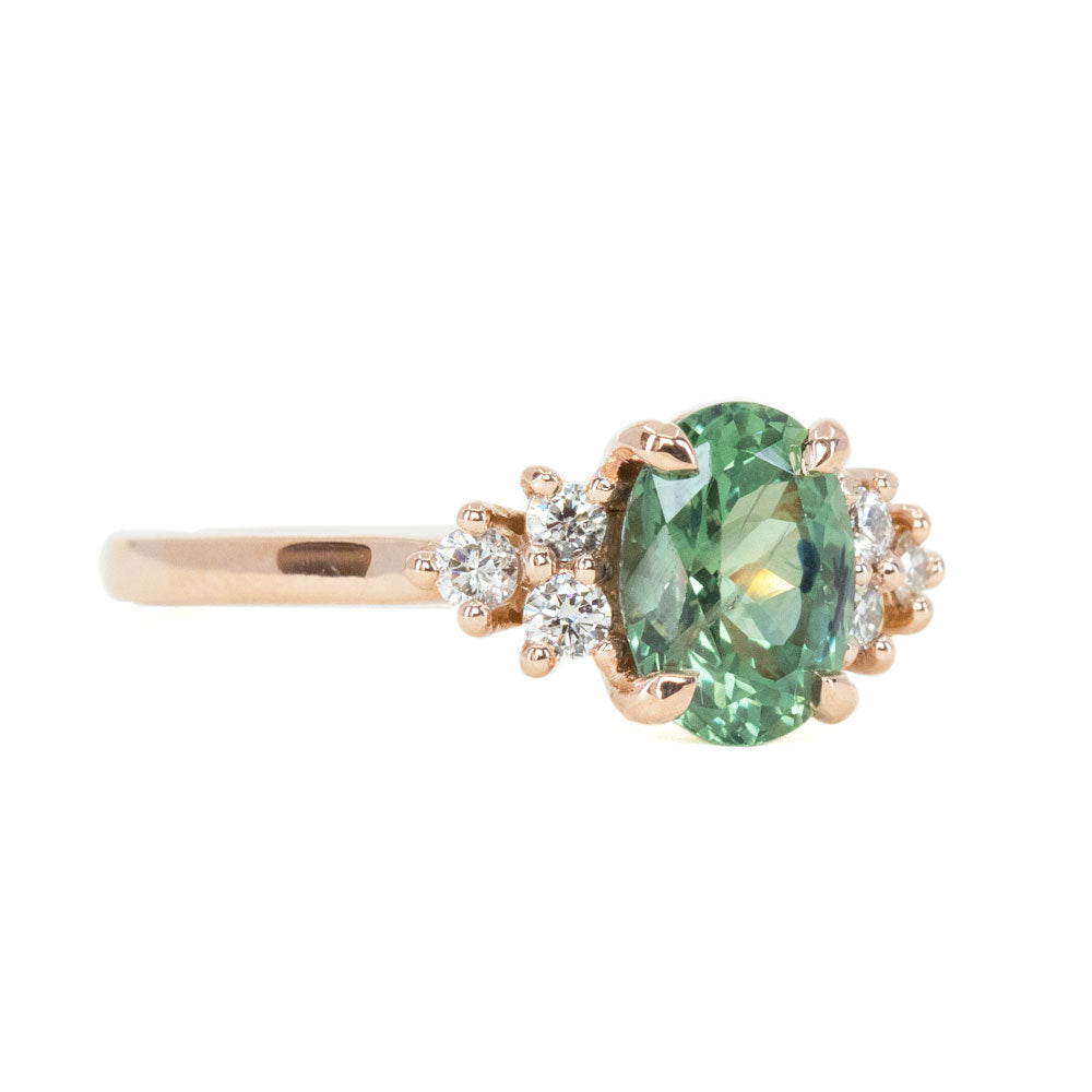 1.63ct Green Teal Montana Sapphire and Diamond Cluster Ring in 14k Rose Gold