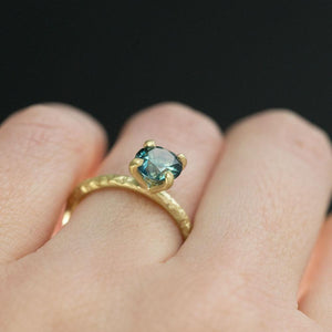 1.42ct Round Montana Sapphire in 18k Yellow Gold Evergreen Solitaire Engagement Ring