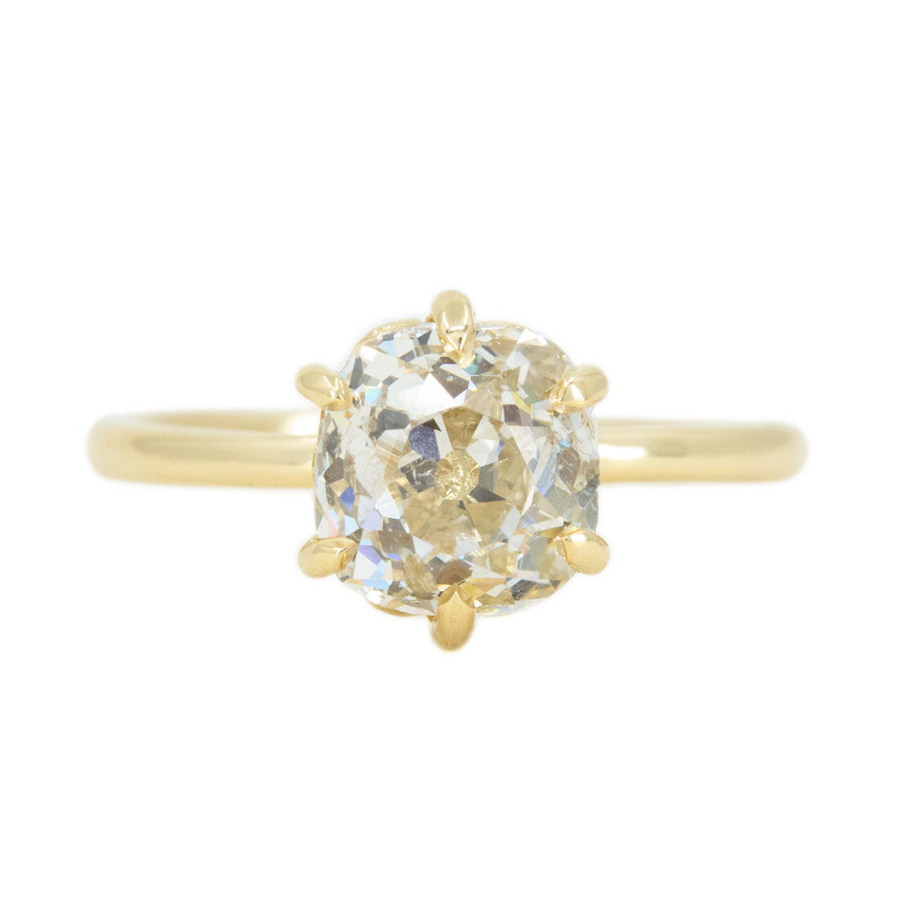 2.15ct Antique Old Mine Cut Diamond in 18k Yellow gold Lotus Six Prong Solitaire