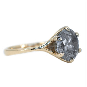 3.52ct Round Salt And Pepper Diamond Six Prong Split Shank Solitaire In 14k Yellow Gold