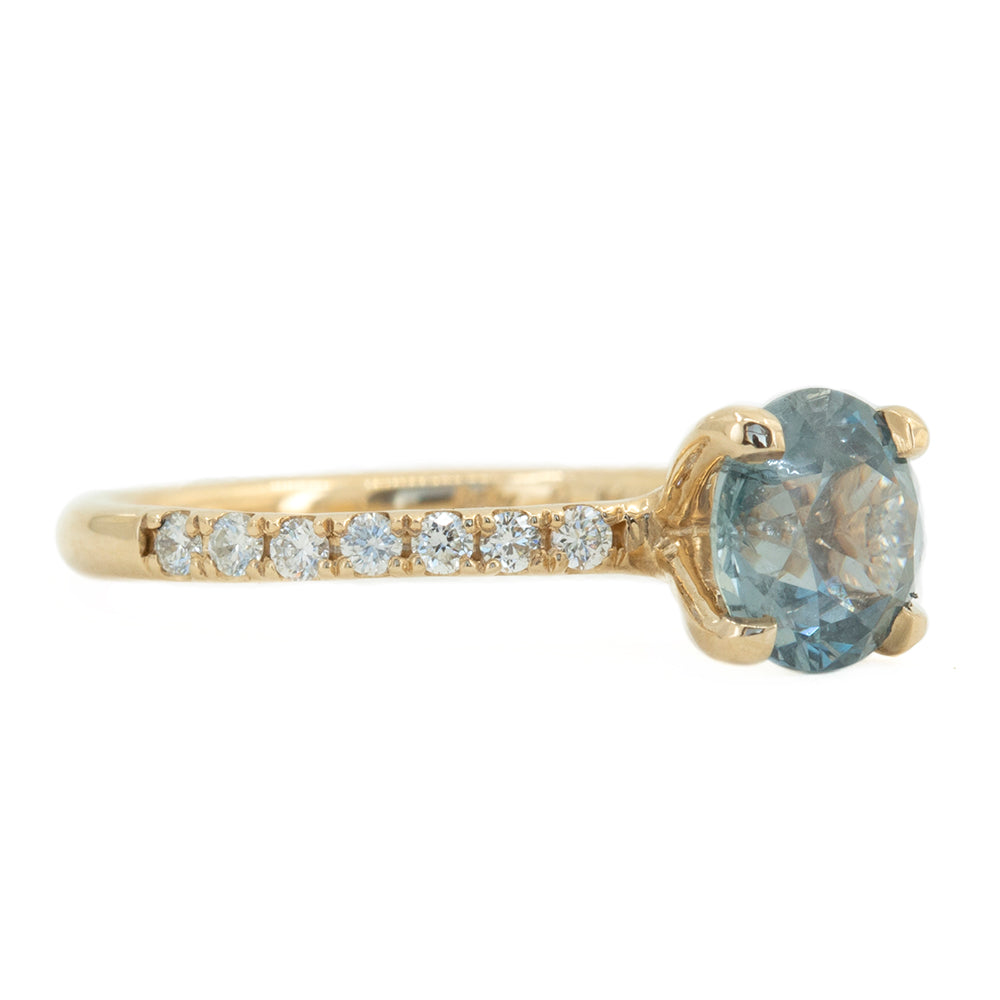 1.61ct Round Color Change Montana Sapphire Solitaire with Diamonds in 14k Yellow Gold