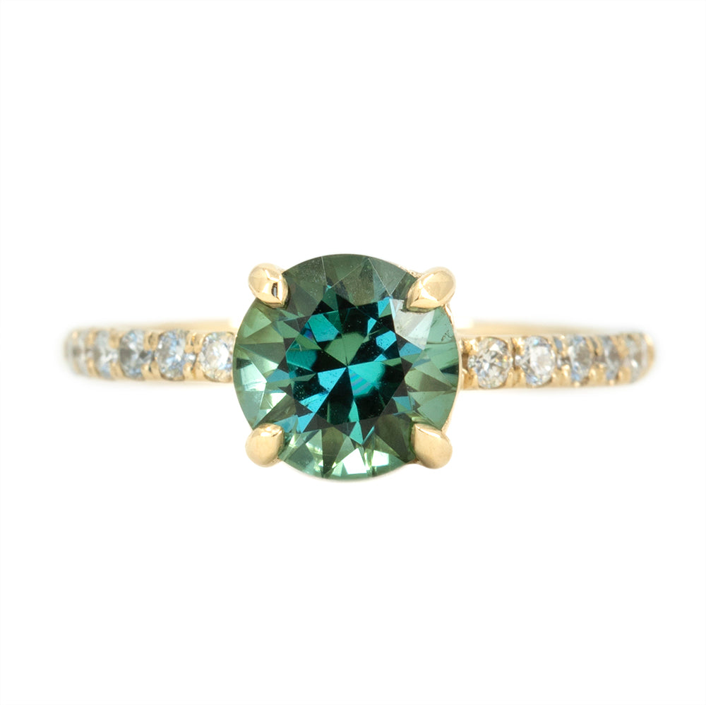 1.47ct Teal Green Tourmaline Solitaire Ring  with Diamonds in 14k Yellow Gold