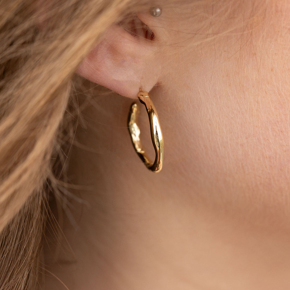 Alluvial Hoop Earrings In Solid 14k Recycled Gold