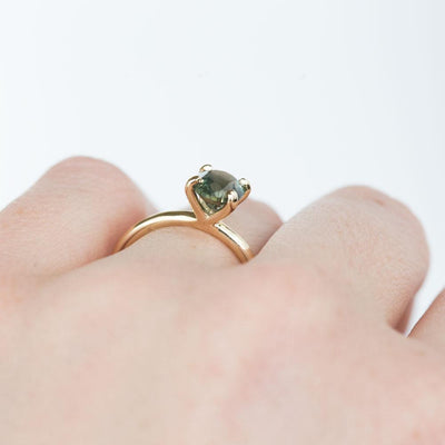 1.70ct Moss Green and Blue Oval Sapphire Plain Solitaire Ring in Yellow Gold