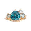 3.5ct Trillion Montana Sapphire Low Profile Antique Diamond Cluster Ring Set in 14K Rose Gold