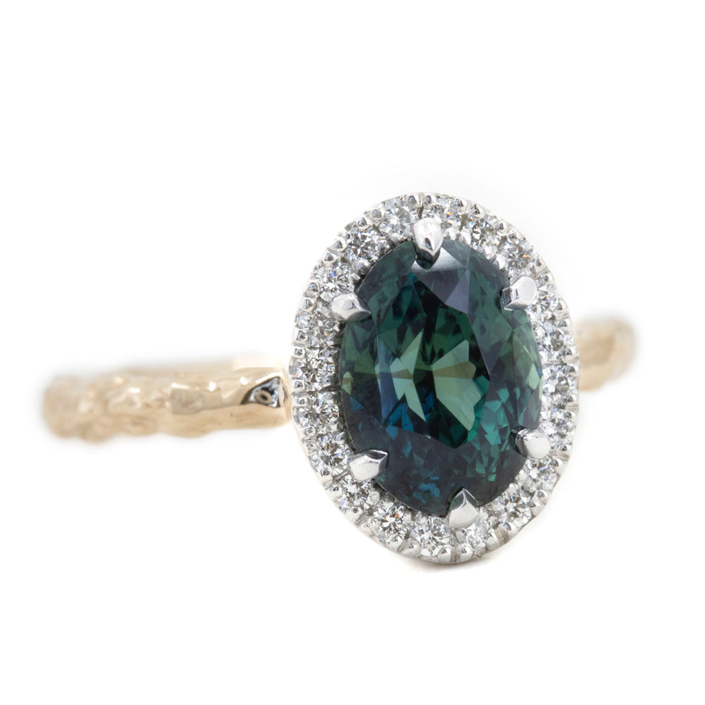 3.07ct Oval Deep Teal Green Blue Madagascar Sapphire Low Profile Six Prong Halo in Platinum and 14k Yellow Gold