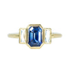 2.37ct Emerald Cut Sapphire with French Cut Baguette Diamond Ring in 18k Yellow Milgrain Bezel