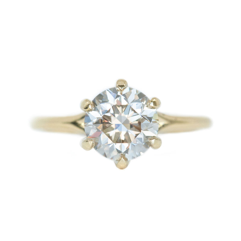 2.03ct light champagne diamond six prong ring in 18k yellow