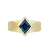 1.76ct Kite Montana Sapphire, Sleek Wide Signet in Brushed 18k Yellow Gold