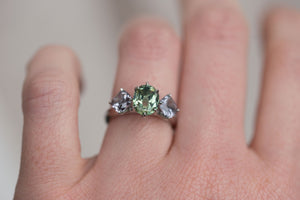 Custom Order- Three Stone Platinum Sapphire and Spinel Ring, Reserved for S.