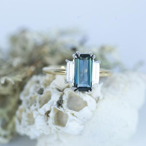 1.91ct Art Deco Baguette Sapphire Low Profile Three Stone Ring with White Baguette Side Diamonds