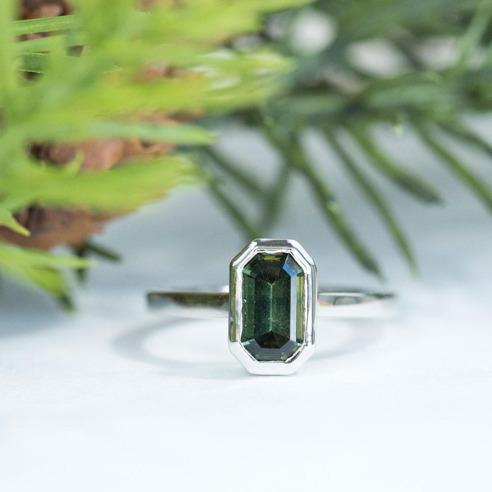 1.62ct Green Emerald Cut Untreated Sapphire in Contemporary White Gold Bezel Setting