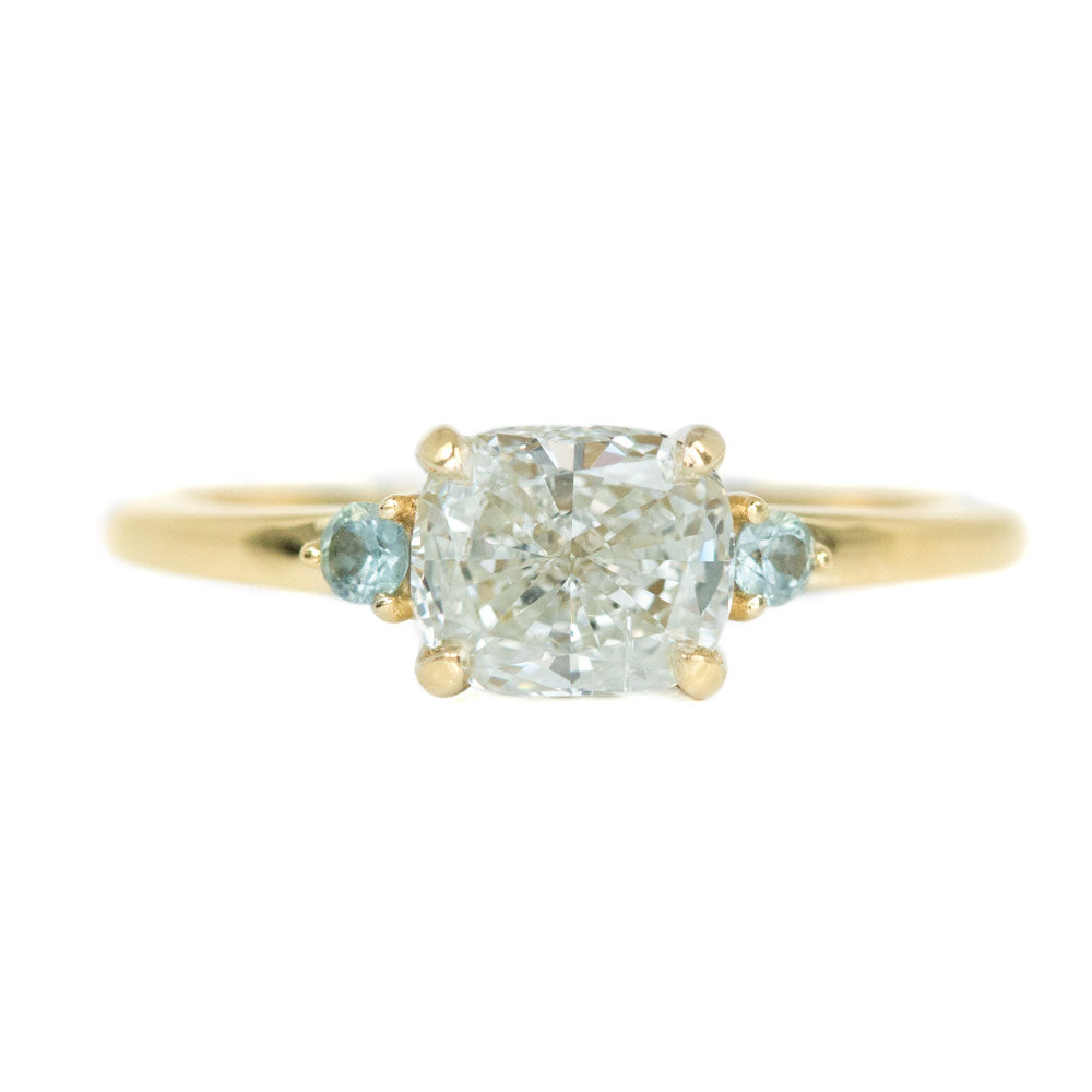 f040fb874e0ce Three Stone Ring featuring 1.06 reclaimed cushion diamond in East-West  setting