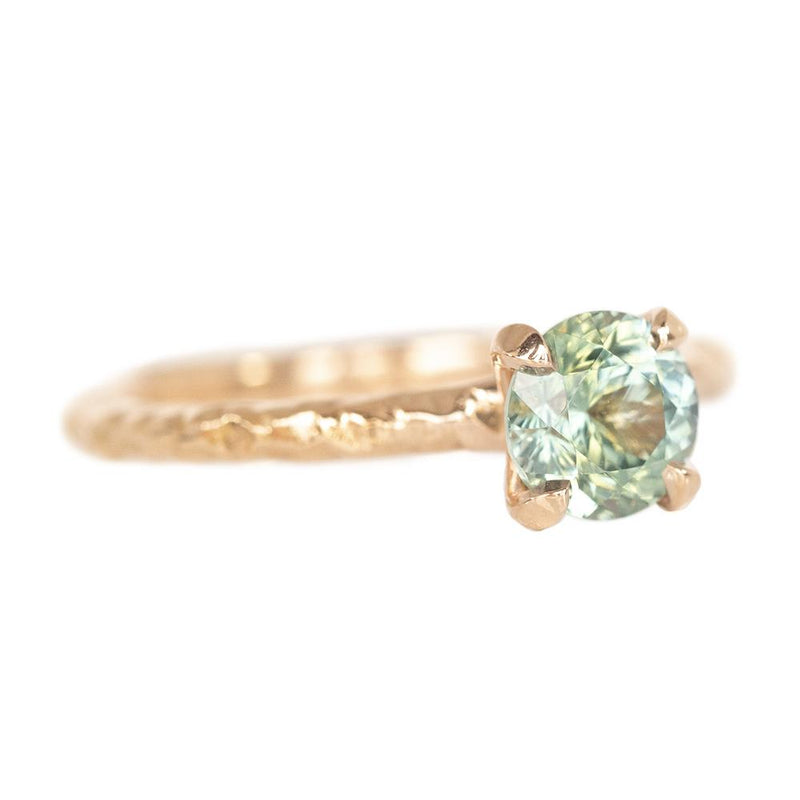 1.15ct Montana Sapphire Ring, Teal Blue Green in 14k Rose Gold Evergreen Texture
