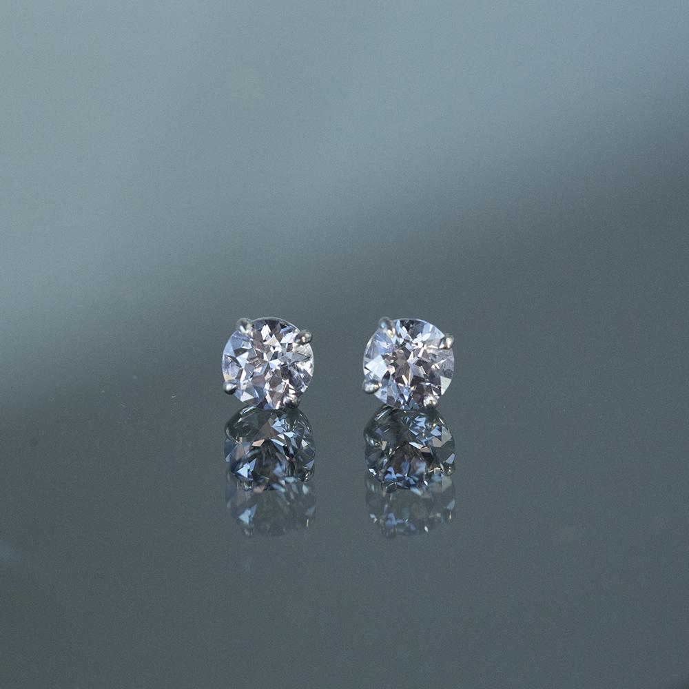 1.52ctw Round Grey Spinel Stud Earrings in White Gold