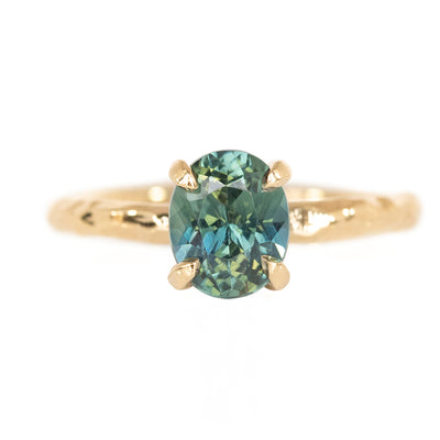 1.64ct Oval Madagascar Sapphire Evergreen Solitaire in 14k Yellow Gold