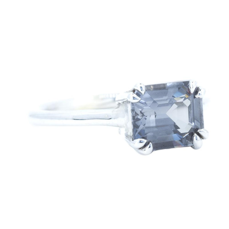 2.12ct Emerald Cut Grey Spinel Solitaire with Double Prongs in White Gold