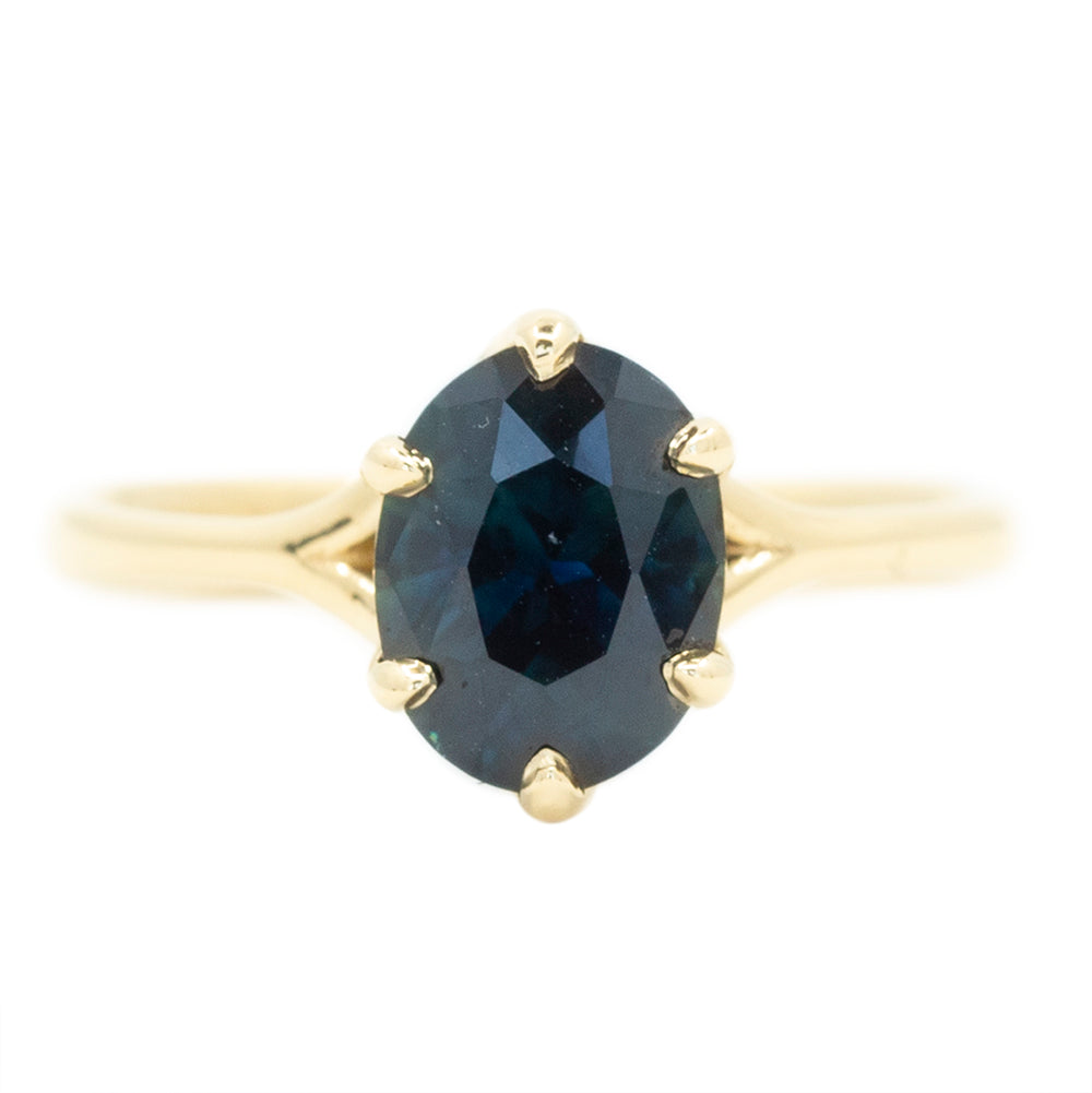 2.34ct Oval Deep Blue Sapphire Six Prong Split Shank Solitaire In 14k Yellow Gold