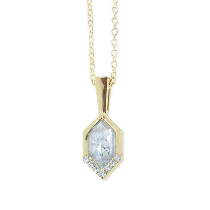 0.81ct Rosecut Salt and Pepper Diamond Necklace in 14k Yellow Gold