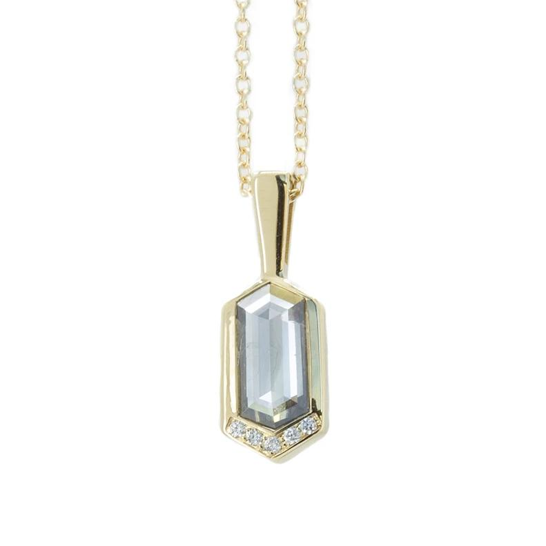 0.68ct Grey Rosecut Diamond Necklace in 14k Yellow Gold