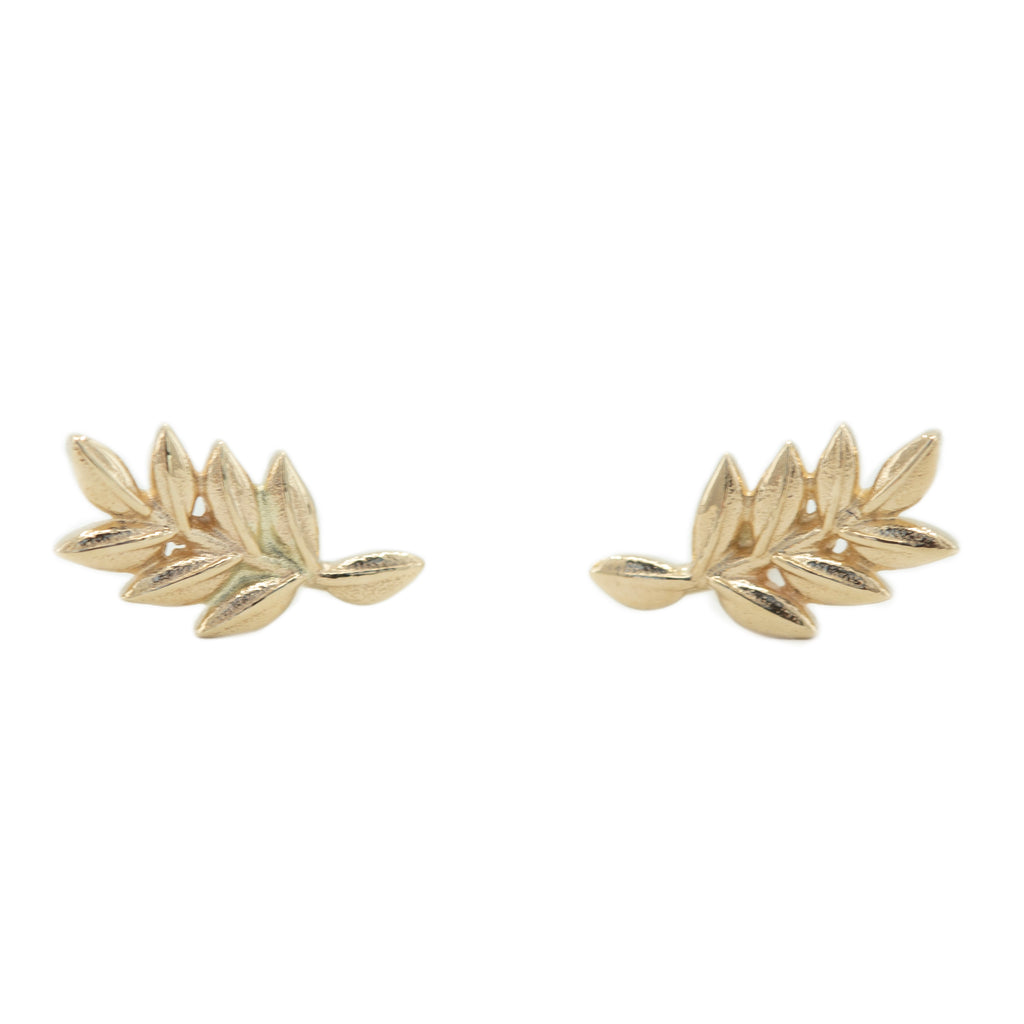 Vine Studs in Solid Recycled Gold