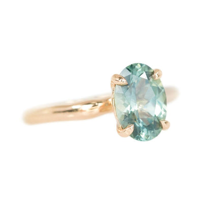 2ct Oval teal green Montana Sapphire Ring in 18k Rose Gold Alluvial Solitaire