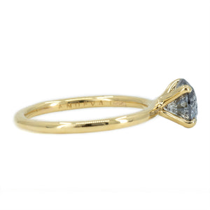 1.53ct Round Salt And Pepper Diamond Solitaire in 18k Yellow Gold