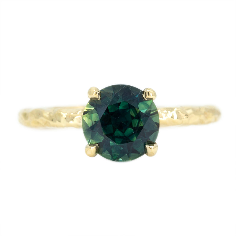 1.62ct Australian Teal Blue Green Sapphire Evergreen Solitaire In 18k Yellow Gold