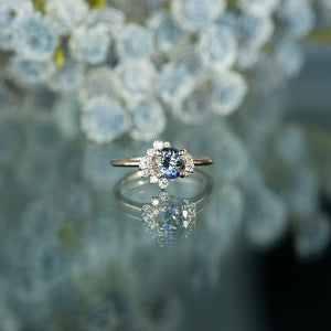 1.17ct Round Tanzanite Asymmetrical Diamond Cluster Ring in 14k Rose Gold