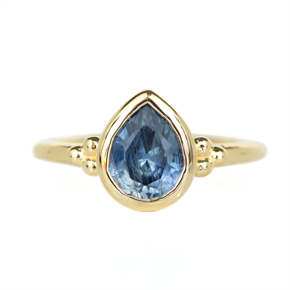 1.95ct Periwinkle Pear Sapphire Low Bezel Set Ring In 14k Yellow