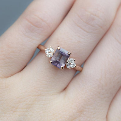 1.68ct Pink Emerald Cut Sapphire With Cluster Diamond Side Ring In 14k Rose Gold