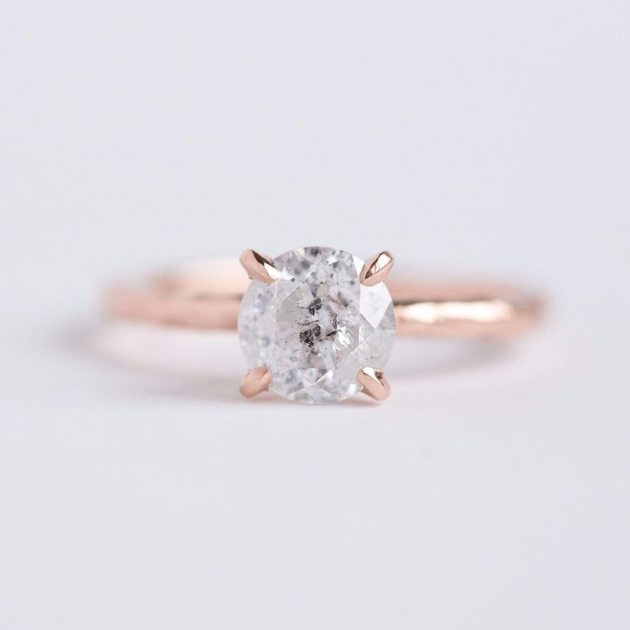 evergreen collection salt and pepper diamond solitaire ring, recycled rose gold in handmade carved ring band