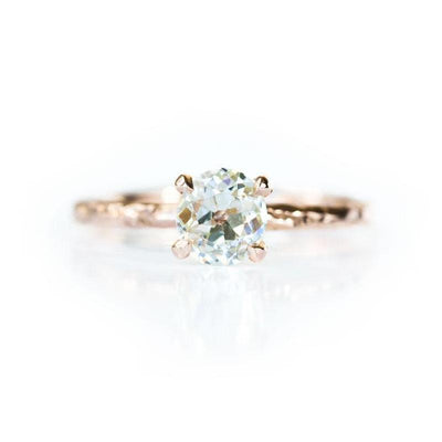 0.78ct GIA Antique Old Mine Cut Diamond in Rose Gold Evergreen Solitaire