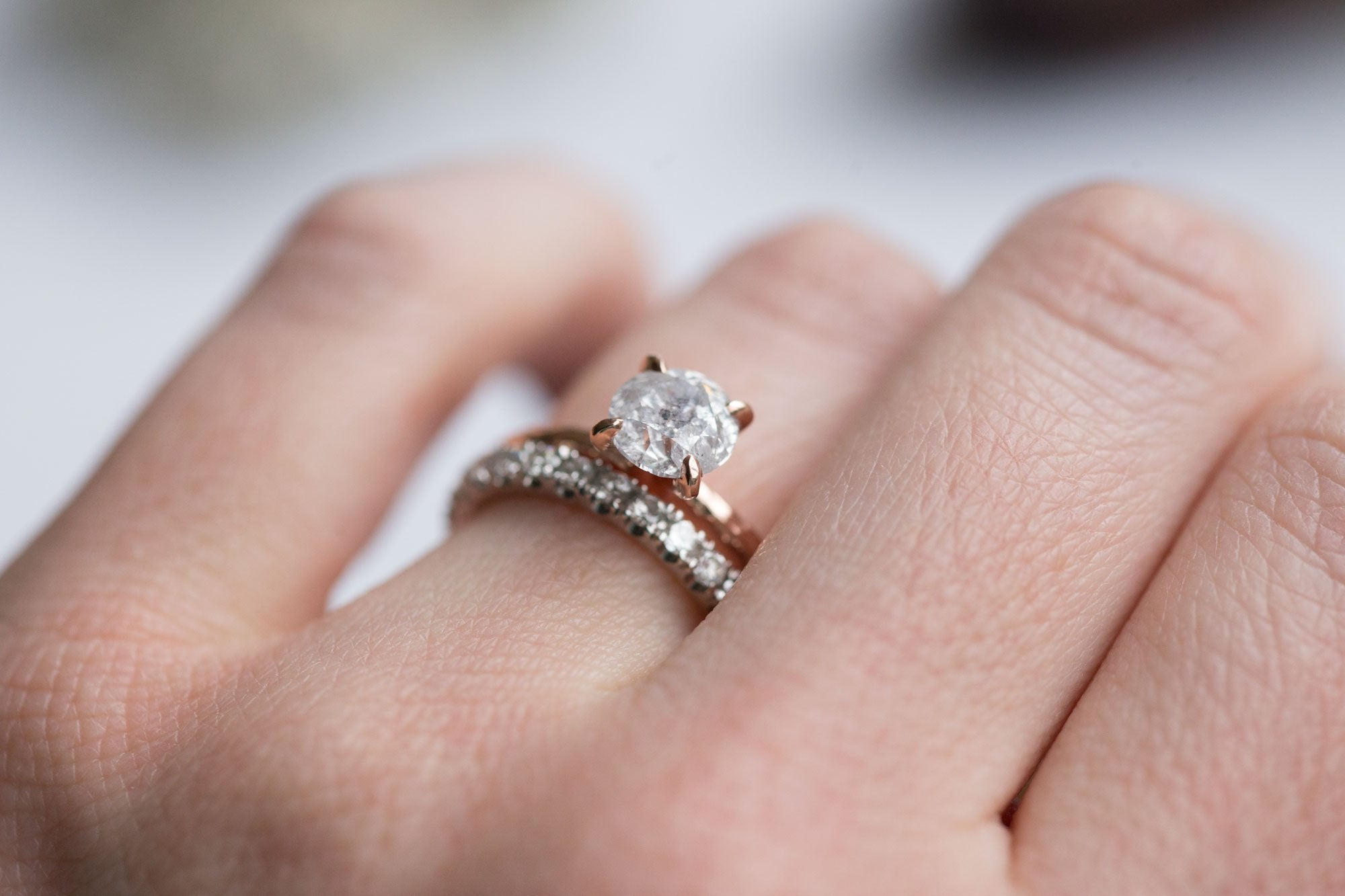 1.12ct Silver Salt & Pepper Diamond in Hand Carved Solitaire ...