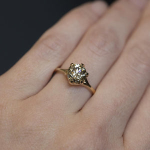 1.46ct Round Champagne Diamond Six Prong Split Shank Solitaire in 14k Yellow Gold