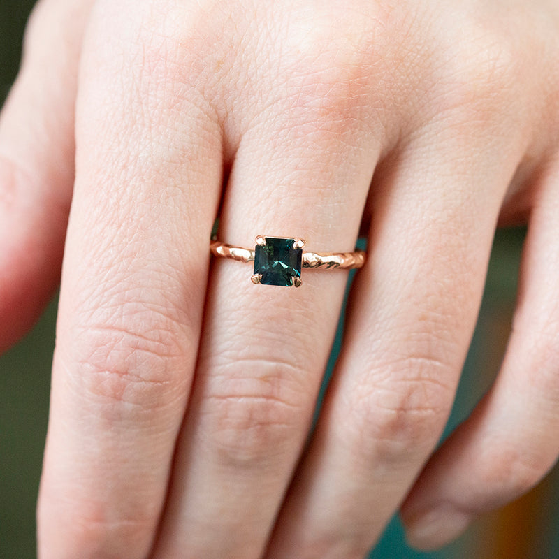 0.90ct Australian Square Cut Sapphire Evergreen Solitaire in 14k Rose Gold