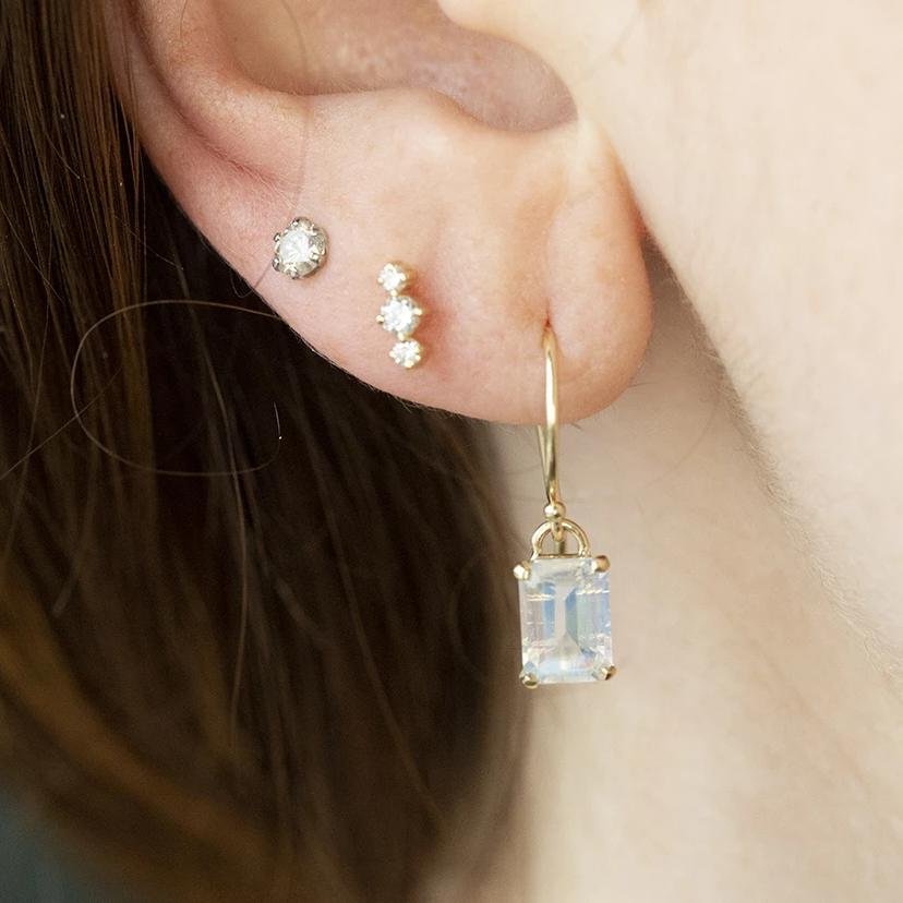 Moonstone Dangle Earrings in 14k Yellow Gold