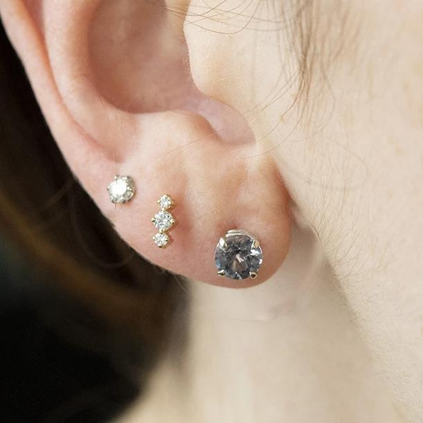 1.40ctw Round Spinel Earrings In White Gold