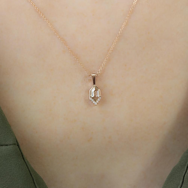 0.47ct Rosecut Diamond Necklace in 14k Rose Gold