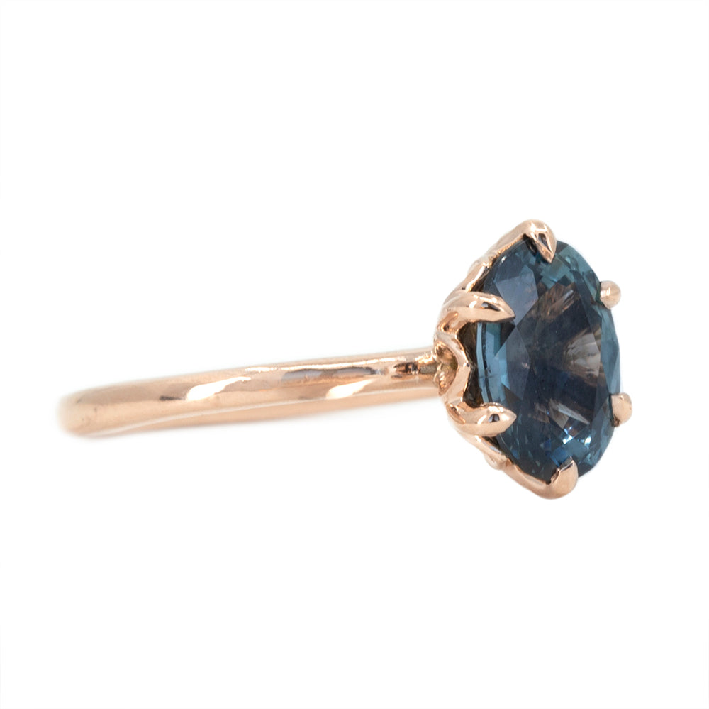 2.08ct Oval Silvery Teal Blue Montana Sapphire Lotus Six Prong Solitaire In 14k Rose Gold
