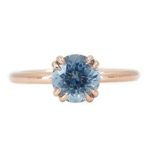 1.69ct Silver Blue Grey Montana Sapphire Double Prong Solitaire Ring in 14k Rose Gold