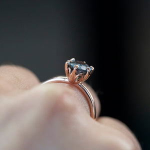Temporary Hold- 2.08ct Oval Silvery Teal Blue Montana Sapphire Lotus Six Prong Solitaire In 14k Rose Gold