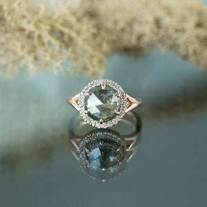 3.31ct Green-Grey Rosecut Diamond in Rose Gold Low Profile Split Shank Halo