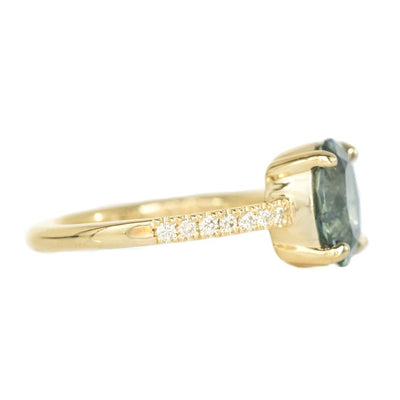 2.6ct Oval Montana Sapphire Ring In French Set Yellow Gold