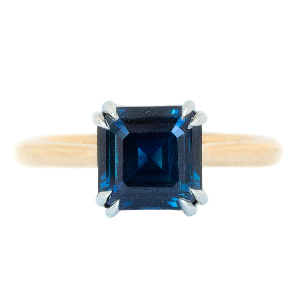 2.83ct GIA Asscher Cut Blue Sapphire in Classic Cathedral Double Prong Solitaire
