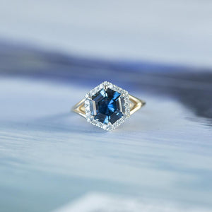 3.31ct Blue Hexagon Montana Sapphire Split Shank Halo Ring